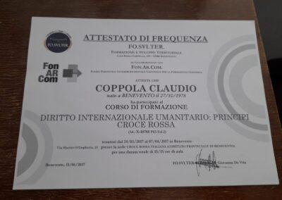 attestato diritto internazionale umanitario claudio coppola