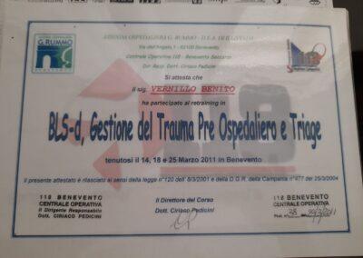 attestato gestione del trauma pre ospedaliero e triage benito vernillo