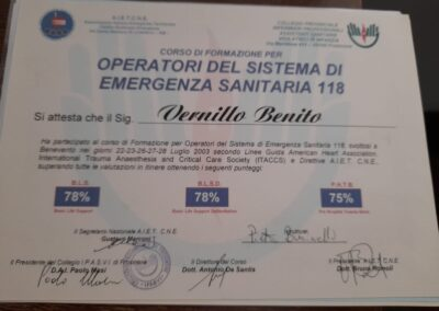 attestato operatori del sistema di emergenza sanitaria 118 benito vernillo
